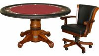 Berner Billiards L Poker Table Set 60 inch - Antique Walnut