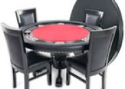 BBO Poker Table Set Nighthawk with 4 Dining Chairs 55-Inch Round