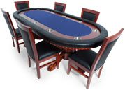 BBO Poker Table Set Rockwell for 10 Players with 6 Dining Chairs 94 x 44-Inch Oval