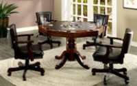 Furniture of America Deaton 5-Piece Gaming Table Set in Cherry