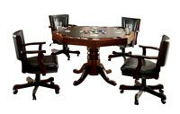 Bowery Hill 5 Piece Gaming Table Set in Cherry