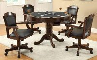 Coaster Turk 5 Piece Round Pedestal Gaming Table Set in Tobacco and Black